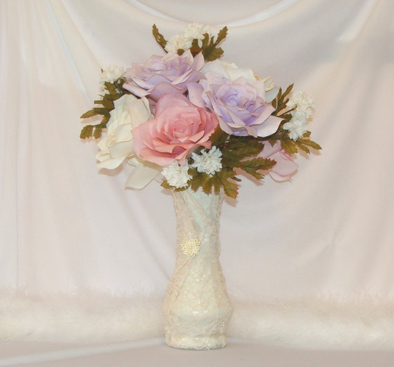 Romantic Wedding Centerpiece Lace Wedding Decor Vintage
