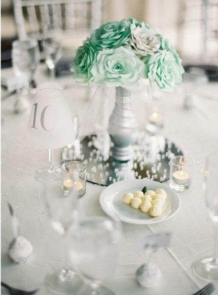 mint green wedding centerpiece bridal table centerpiece quinceanera decor bridal shower decor baby shower decor silver wedding decor