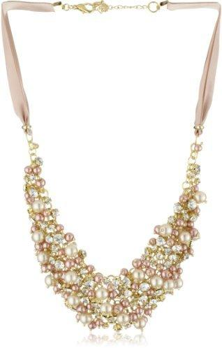 Wedding - Nina 'Melanie' Blush Colored Glass Pearl and Crystal Necklace