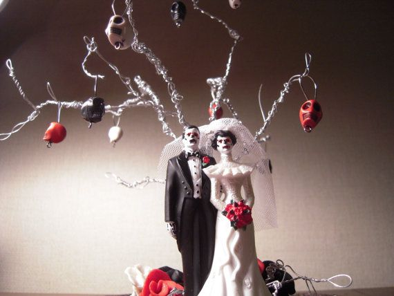 Wedding - WEDDINGS FEATURED Item Day Of The Dead/Zombie/Skeleton Wedding Cake Topper With Twisted Wire Tree Alternative Wedding Halloween Wedding