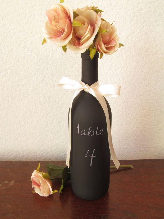 Wedding - Chalkboard Wine Bottle / Wedding Table Number / Party Supply Chalkboards / Decorative Wine Bottle