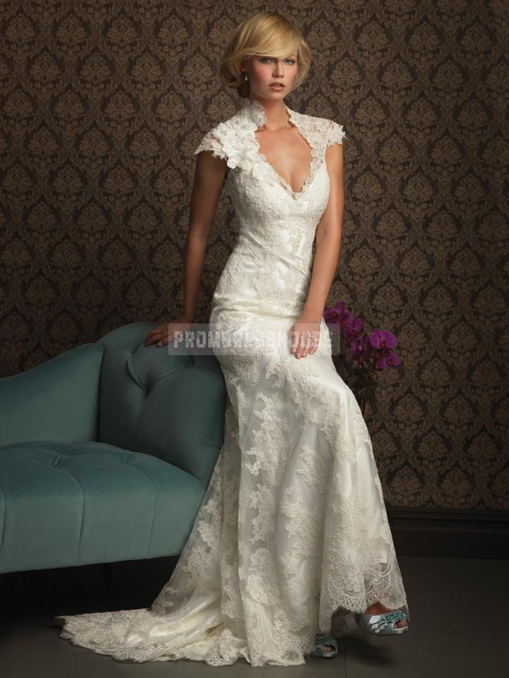 Keyhole Back Fall High Neck Lace Cap Sleeves Wedding Dress ...