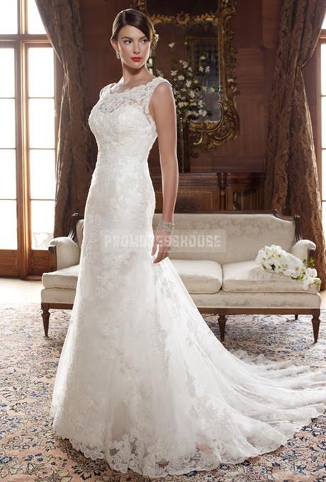 Свадьба - A-line Lace Scoop Natural Waist Sweep/Brush Train Criss Cross Back Sleeveless Beading Draping Wedding Dress - Promdresshouse.com