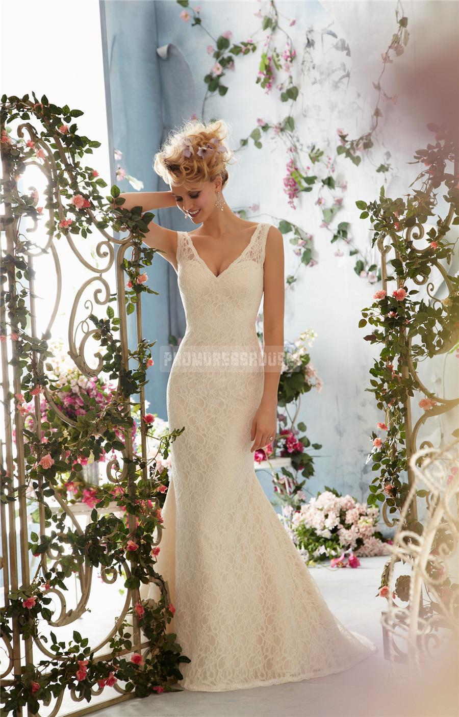 Wedding - Lace Trumpet V-back V-neck Sleeveless Wedding Dress - Promdresshouse.com