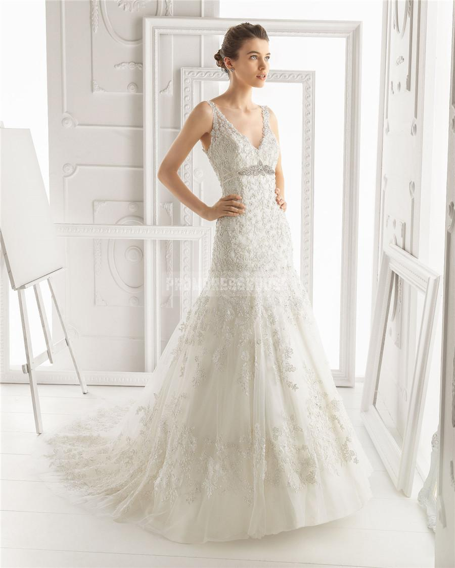 Wedding - Tulle,lace V-neck Sheath Empire Chapel Train Wedding Dress - Promdresshouse.com