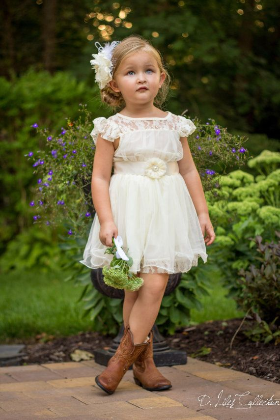 Свадьба - The Charlotte - Ivory, Lace, Chiffon Flower Girl Dress, Made For Girls, Toddlers, Ages 1T, 2T,3T,4T, 5T, 6, 7, 8, 9/10