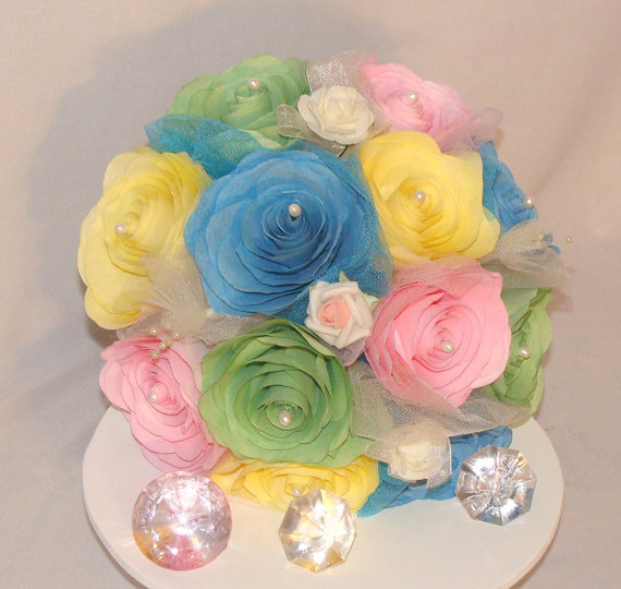 Pastel Bouquet Yellow Pink And Blue Bridal Bouquet Yellow Wedding