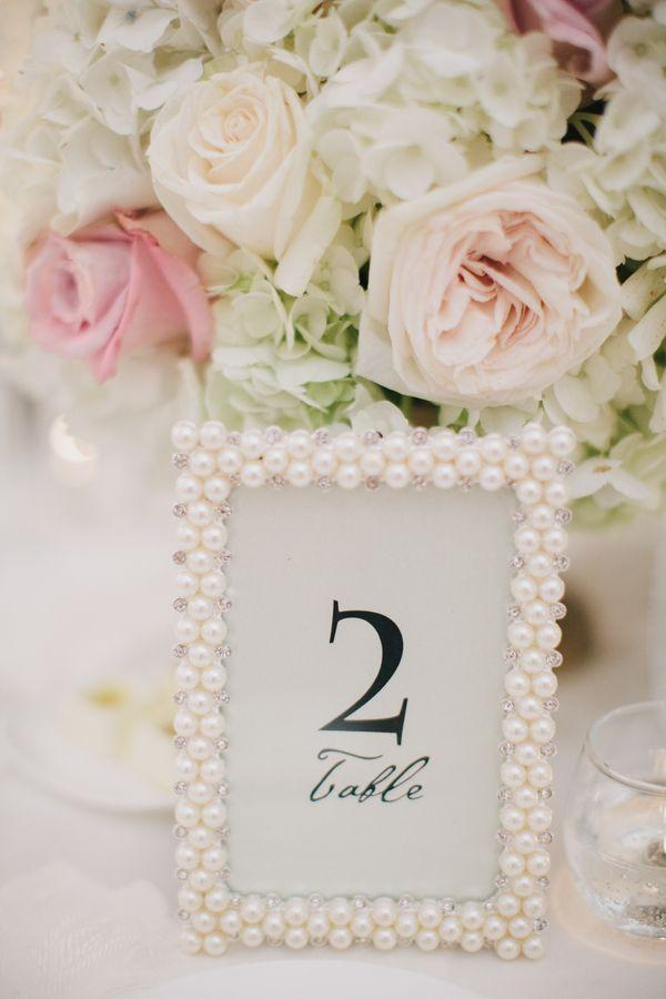 Свадьба - Pearl Frame Table Number