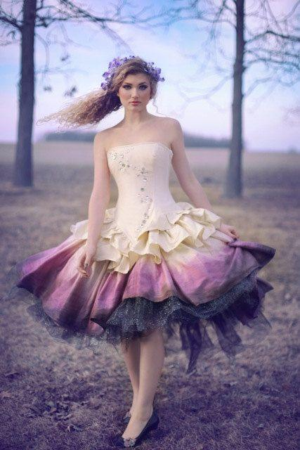 efaa3bb1c7e23 Ombre Wedding Dress - Steampunk Fairytale Gown - Moon Fairy Goddess In Silk  And Crystals -Custom To Your Size