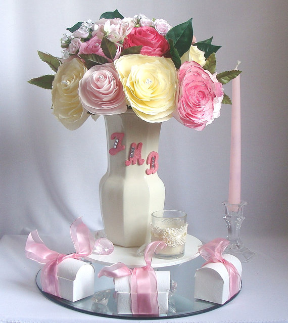 personalized centerpiece romantic wedding decor pink bridal decor baby shower decor bridal shower decor faux floral decor paper flower