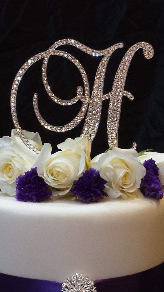 Letter H Swarovski Crystal Monogram Cake Topper Wedding Birthday