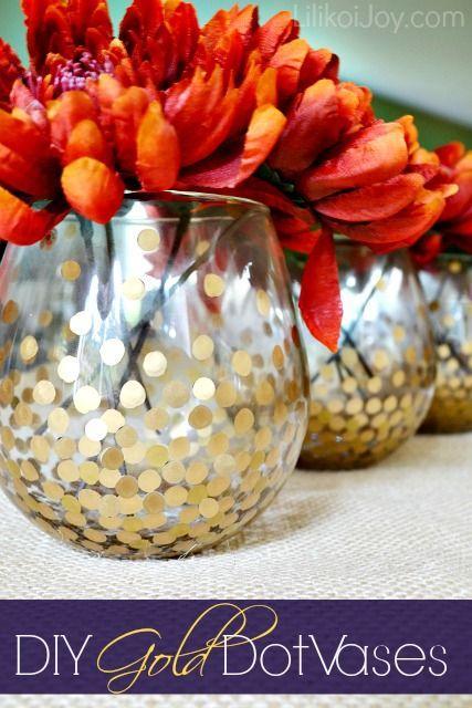 Wedding - DIY Gold Polka Dot Vases