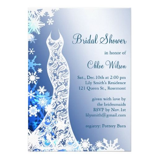 snowflakes bridal shower invitation 2