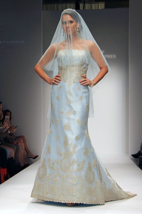 A Blue Two-tier Wedding Veil By Matthew Christopher Is Subtle, Yet ...