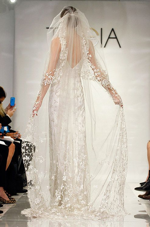 Mariage - An Ornate Chapel Length Wedding Veil From The Theia Fall 2014 Bridal Collection Features Beautiful Floral Vines.