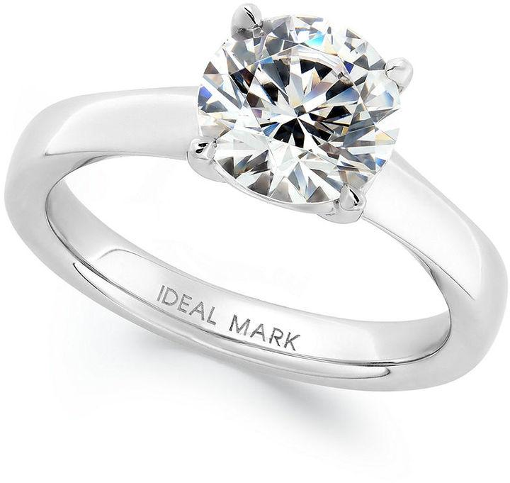 Idealmark Certified Diamond Solitaire Engagement Ring In Platinum 2 Ct T w
