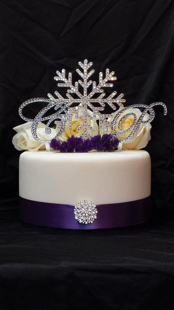 Wedding - Double Monogram Initial & Snowflake Swarvoski Crystal Cake Topper Letter A B C D E F G H I J K L M N O P Q R S T U V W X Y Z