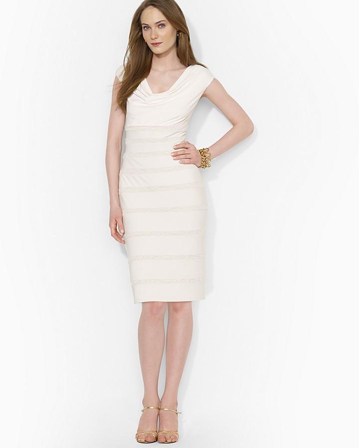 92b25f09cb0 Lauren Ralph Lauren Dress - Cap Sleeve Tonal Lace Inset Jersey ...