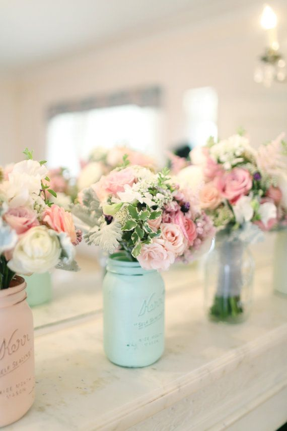 As Seen In Smitten Magazine Mint And Blush Spring And Summer Wedding Decoration Home Decor Painted And Distressed Mason Jars Vases
