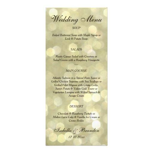 Свадьба - Champagne Bubbles Wedding Menu