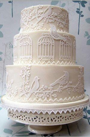 Wedding - Custom Listing: Laser-Cut Sugar Sheets - Birds, Branches, And Cages For 3-Tier Wedding Cake
