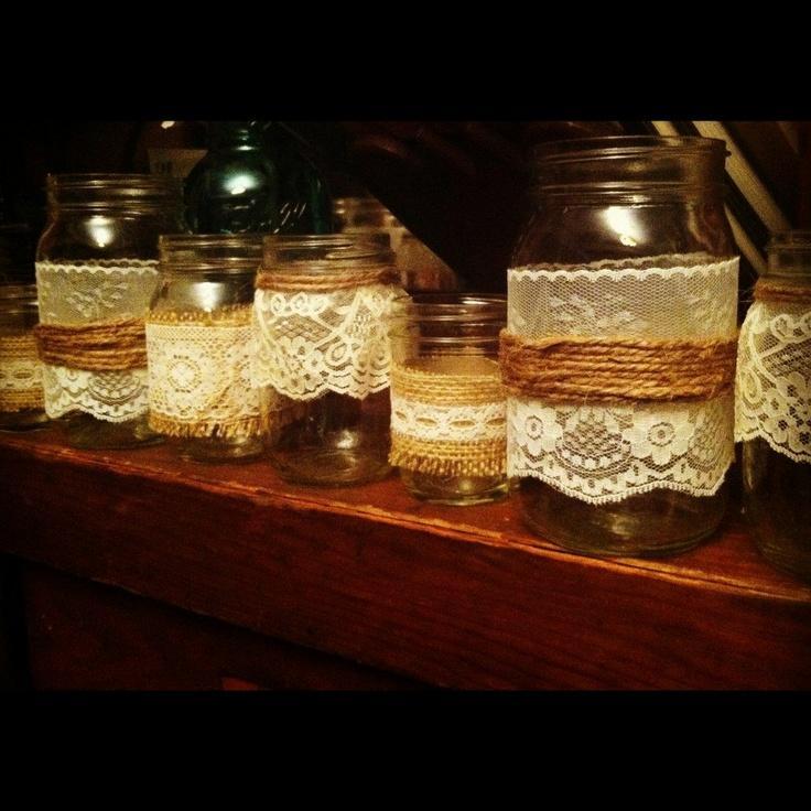 Rustic wedding decor burlap and lace mason jars candle