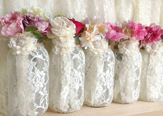 Vase Wedding Decoration Ideas: 5 Ivory Lace Covered Ball Mason Jar Vases, Wedding