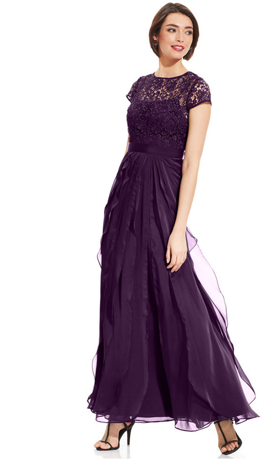 Adrianna Papell Petite Cap-Sleeve Lace Tiered Gown #2183062 - Weddbook