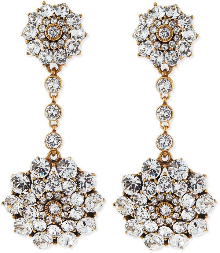 Mariage - Oscar de la Renta Clear Crystal Drop Clip-On Earrings