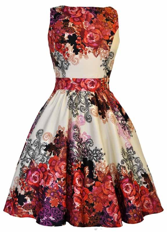 Mariage - Red Rose Floral Collage On Cream Tea Dress