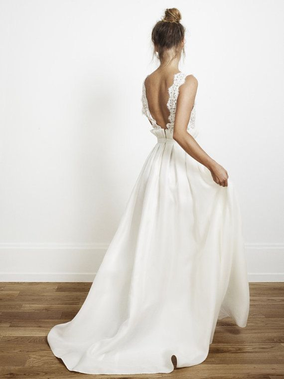 Backless wedding dress v neck wedding dress lace wedding for Backless boho wedding dress