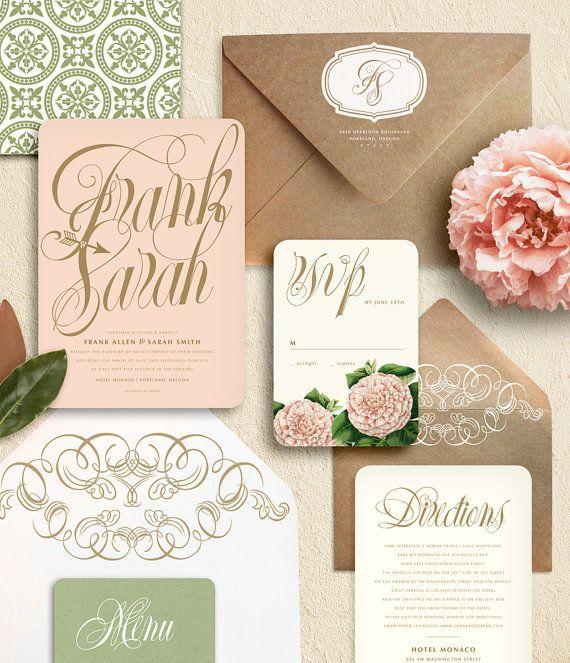 Blush Pink And Gold Script Flower Garden Wedding Invitation Suite