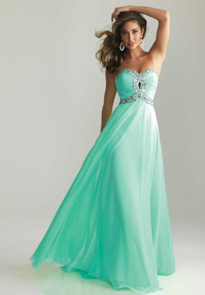 Wedding - Aqua Night Moves 6642 Long Strapless Keyhole Prom Gown