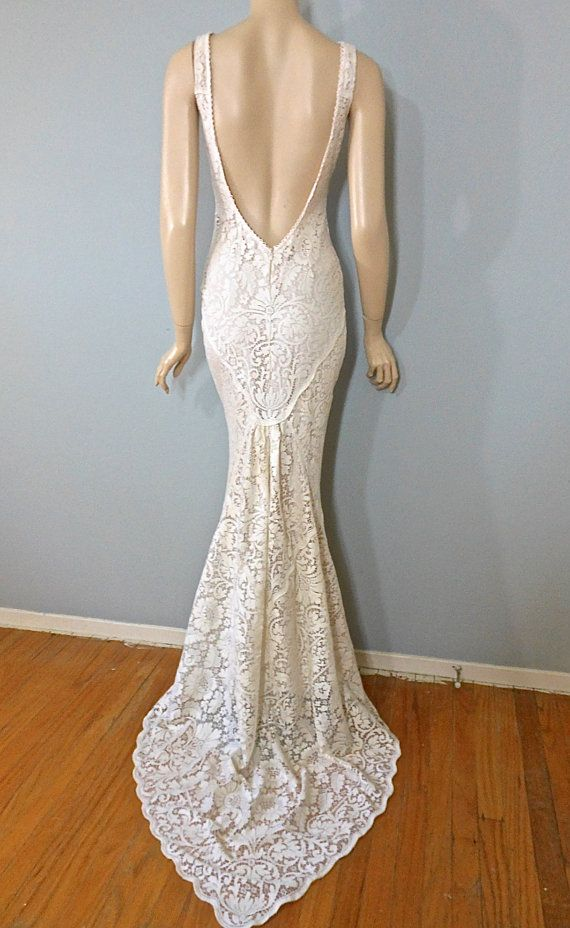 Angelic Hippie Wedding Dress Crochet Cream Lace Gown Boho Plunging Back Mermaid Sz Small