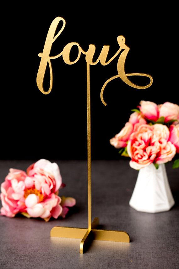 Gold Wedding Table Numbers Freestanding With Base 2183714