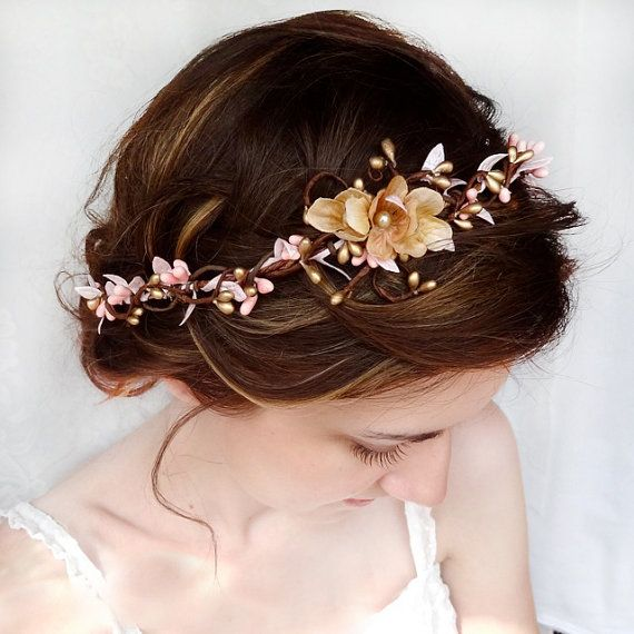 Mariage - Pink And Gold Bridal Circlet, Wedding Flower Headpiece, Flower Hair Wreath - SERAPHIM - Flower Girl, Wedding Hair Accessories