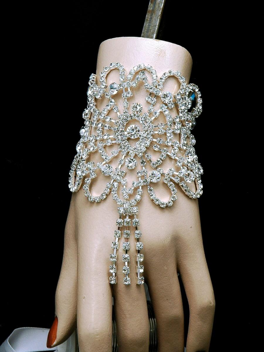 Bridal Art Deco Bracelet - Free Shipping -The Great Gatsby Crystal Cuff  Bridal Bracelet- Wedding Jewelry-Vintage Style Rhinestone Bracelet