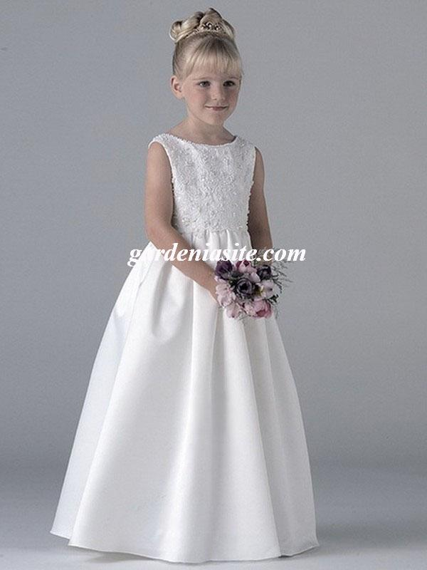 Свадьба - Bateau Satin A-line Floor-length Dress(AUSTWPFG0003)