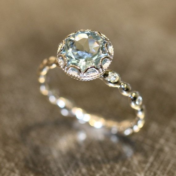 Hochzeit - Floral Aquamarine Engagement Ring In 14k White Gold Diamond Pebble Ring 8x8mm Round Natural Aquamarine Ring (Bridal Set Available)