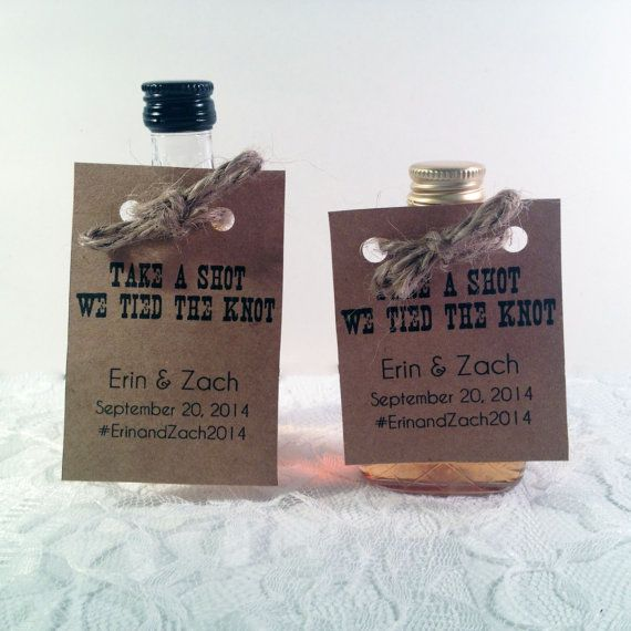 50 Mini Alcohol Bottle Tags Unique Wedding Favors Take A Shot We Tied The Knot Favor Thank You Custom