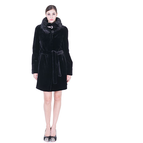 Mariage - Black faux mink cashmere and fur with diamond buckle