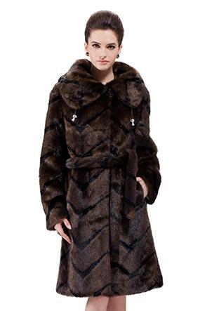 Wedding - Faux dark coffee mink fur with black stripes women long coat