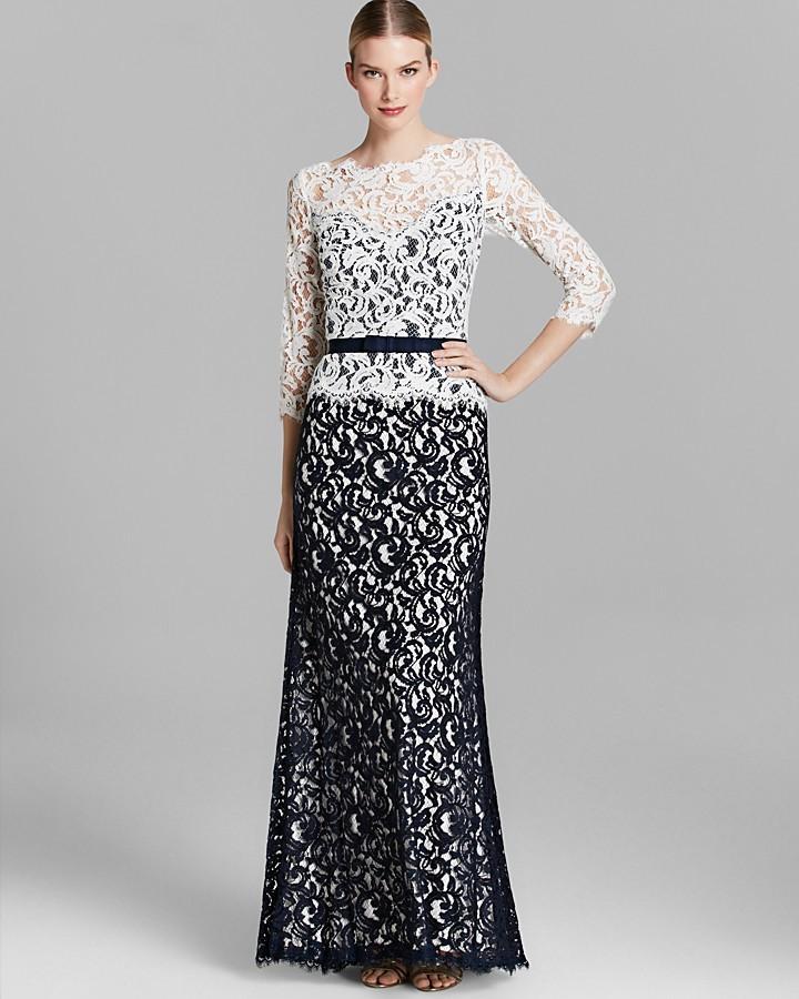 Tadashi Shoji Gown - Three Quarter Sleeve Lace Ribbon Belt #2184891 ...