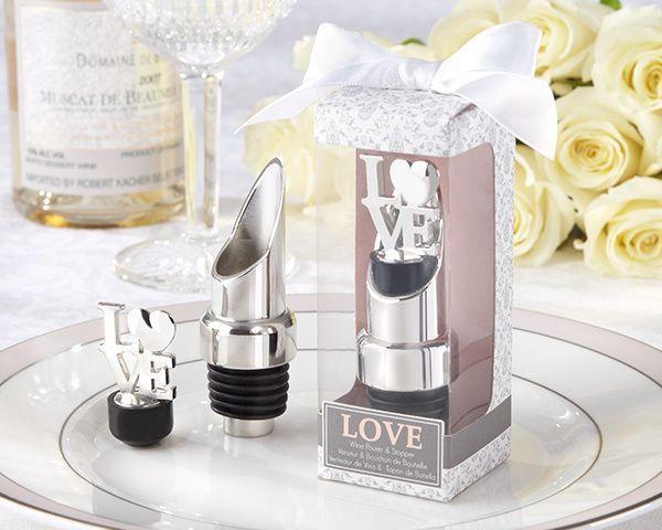 Hochzeit - Chrome Combination Pourer/Bottle Stopper Favor