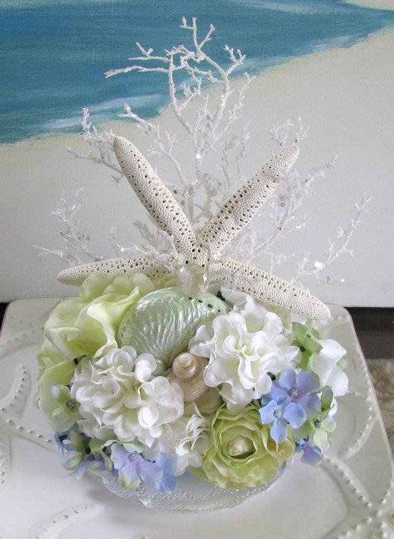 زفاف - Starfish Seashell Beach Wedding Cake Topper-Floral Beach Wedding Cake Topper