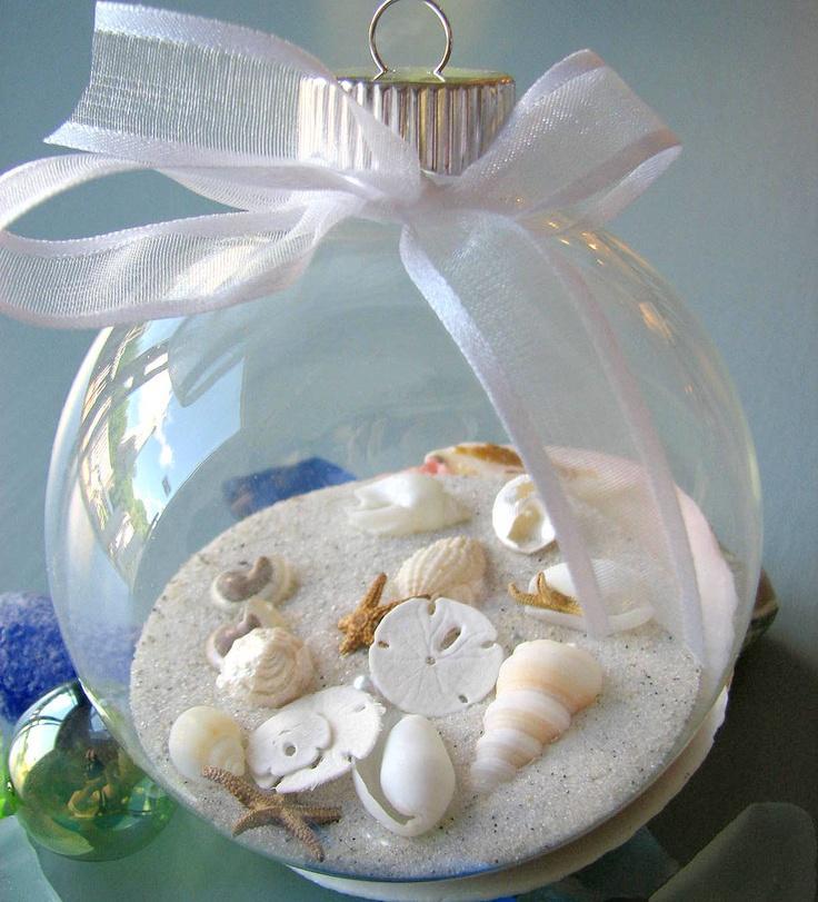 Beach decor seashell christmas ornament nautical shell for Seashell ornament ideas