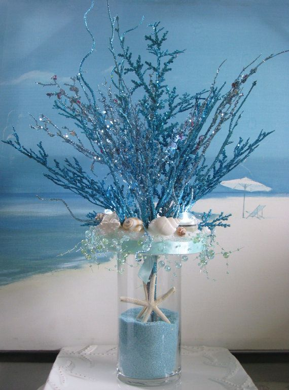 Blue Coral Seashell Sand Wedding Centerpiece Beach Wedding