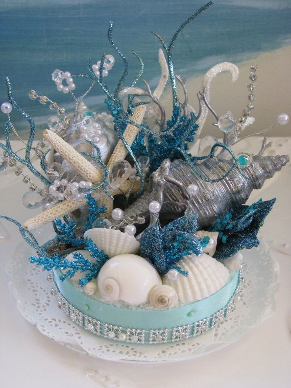 زفاف - Coral Reef Seashell Cake Topper-Starfish Wedding Cake Topper-Under The Sea Beach Wedding Cake Topper
