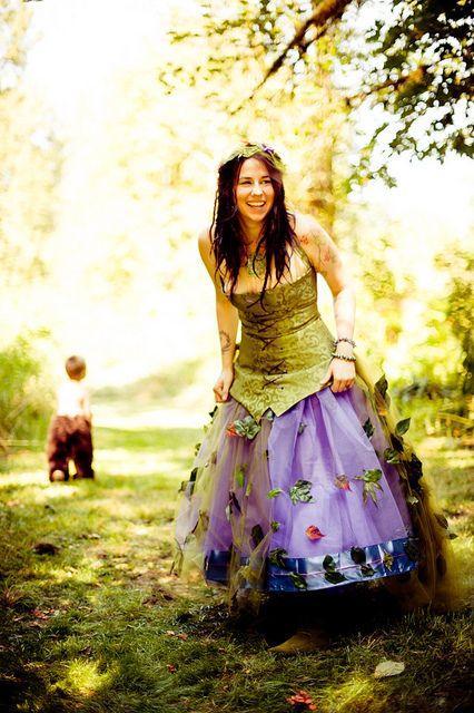 Green And Purple Fairy Wedding Dress