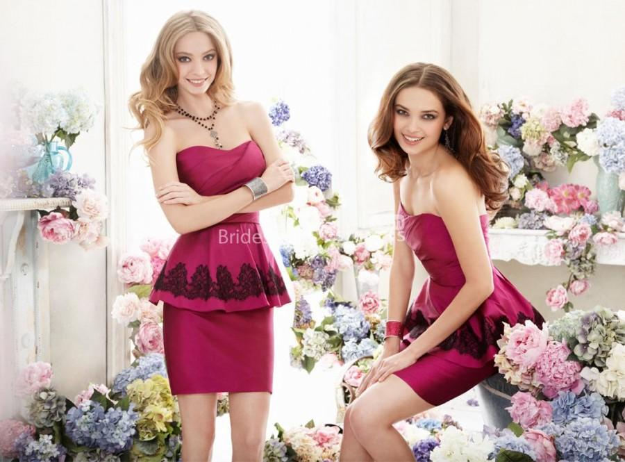 Свадьба - Taffeta Strapless Short Pencil Bridesmaid Dress with Natural Waist
